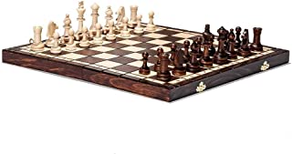 Helt ny handgjord turnering 76 schackset i trä 39 cm x 39 cm