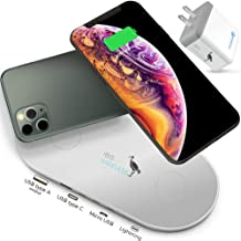 IBIS Wireless 9W Dual Wireless Charger Fast Charging Station 3 Devices At Once, with Qualcomm 3.0 USB Charger, Wireless Charging Pad Multiple Devices, Wireless Phone charger Pad For iPhone 11 Pro Max.