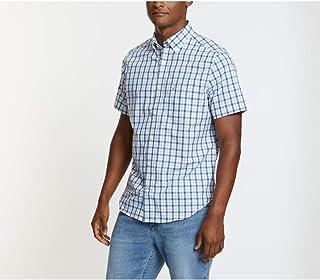 Nautica Men's Wrinkle Resistant Short Sleeve Plaid Button Front Shirt