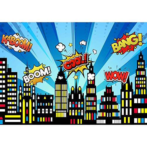 Allenjoy 84x60inch Superhero Cityscape Theme Backdrop American Comics Style Building Scenes Photography Background Birthday Baby Shower Party Supply Cake Table Decor Banner Photo Booth Studio Prop