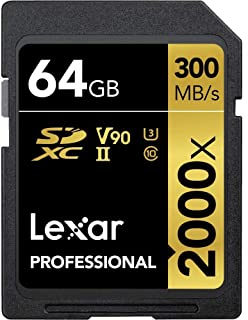 Lexar Professional 2000x 64GB SDXC UHS-II/U3 (Up to 300MB/s Read) w/USB 3.0 Reader - LSD64GCRBNA2000R
