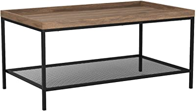 Walker Edison Furniture Industrial Coffee Accent Table Living Room Rectangle, 42 Inch, Walnut Brown