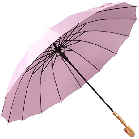 Lanker - KS08P Paraguas grande que se abre y se cierra de forma manual con 16 varillas, duradero y resistente con fibra 210T impermeable, resistente al viento morado Morado