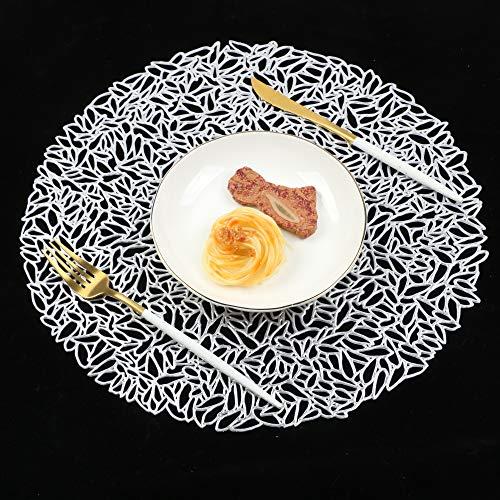 Famibay Silber PVC Platzsets Rund Hitzebeständig Tischsets 6er Set für Tisch