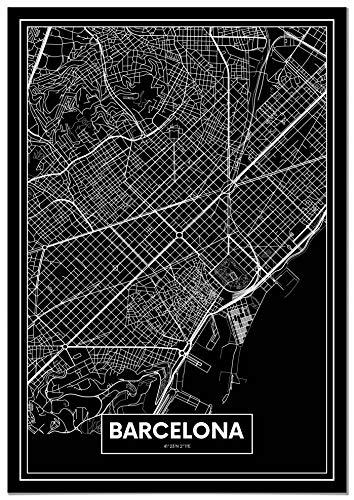 Panorama Póster Mapa Negro de Barcelona 50 x 70 cm - Impreso en Papel 250gr - Póster Pared - Cuadros Decoración Salón y Dormitorio - Póster Decorativos - Cuadros Modernos