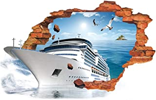 Creative 3D Space Wall Decals - Removable PVC Sea Cruise Ship and Dinosaur Wall Stickers, Murals Wallpaper Art Decor for Home Walls Ceiling Boys Room Kids Bedroom Nursery School