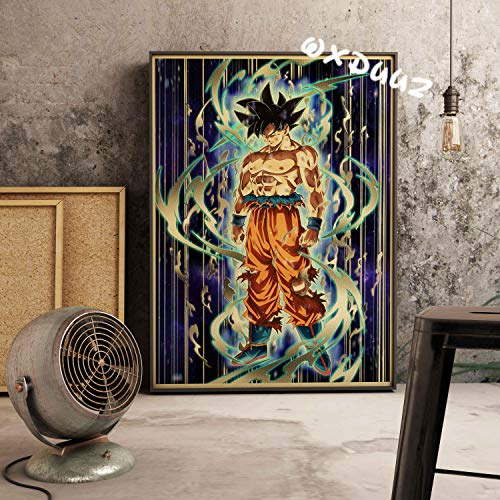 fdgdfgd Dragon Ball Z Monkey King San Vegeta Super Saiyan último Estado de Despertar Estilo Retro Estilo Antiguo decoración del hogar Pintura en Lienzo