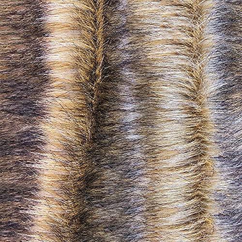 Luxus Weiche Plüsch Kunstpelz Stoff Gelb Gefärbt Schwarze Spitze Langer Stapel 70mm Für Für Heimwerker Cosplay Kostüm Dekoration Teppiche Nähen Plüschtier Pelzkragen(Size:1m)