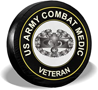 US Army Combat Medic Veteran Spare Wheel Tire Cover Funny Waterproof Tire Protectors Novelty