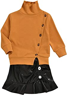 BOIZONTY Kids Baby Girls Knitted Pullover Sweater Top + Black Leather Skirts Dress Fall Winter Outfit Clothes Set (Black, 3-4 Years)