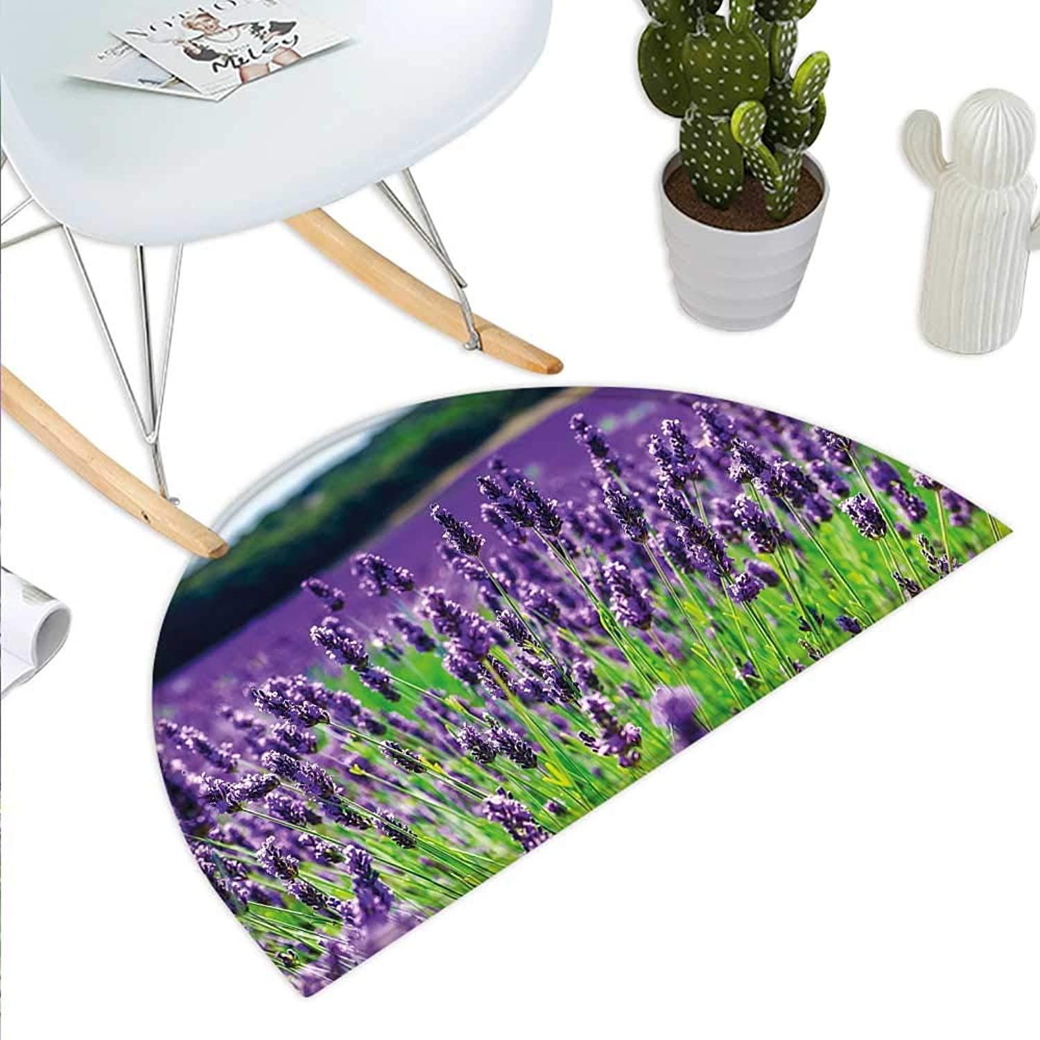 Lavender Semicircle Doormat Scenic Field in France Fragrant Blooming Countryside Agriculture Rural Theme Halfmoon doormats H 23.6  xD 35.4  purple Green