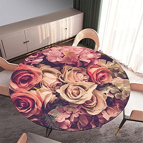 FANSU Impermeable Redondo Mantel con Borde Elástico, 3D Impresión Rosas Mantel de Mesa Ajustada Cubierta de Mesa para Picnic Comedor Cocina Restaurante Cena (Rosas Vintage,Diámetro 110cm)