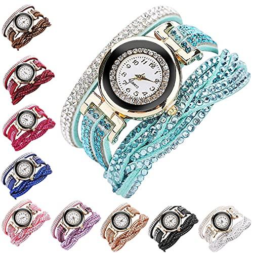 Fashion Rhinestone Watch Twine Bracelet Luxury Quartz Wrist Watches(10 Pack)
