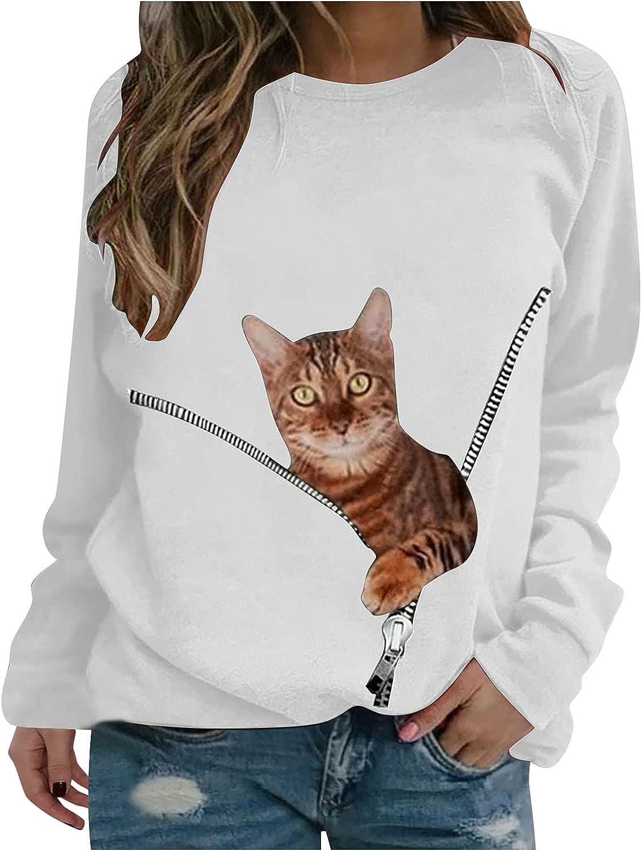 Reokoou Women's Cute Graphic Printed Sweatshirt Crewneck Long Sleeve Tops Casual Pullover Sweatshirt Tops Blouse Shirt