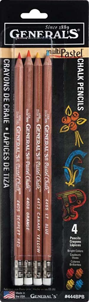 General Pencil 444BPB Multipastel (R) Chalk Pencils (4 Pack), Brights, Assorted