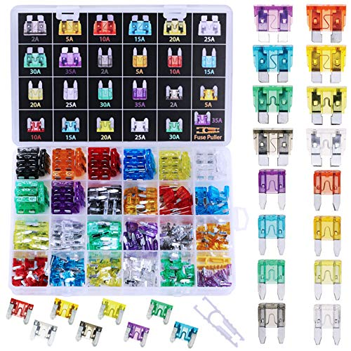 272pcs - Car Blade Fuses Assortment Kit, Automotive Fuses - Standard & Mini & Low Profile Mini (2A/ 5A/ 10A/ 15A/ 20A/ 25A/ 30A/ 35A), Car Boat Truck SUV Automotive Replacement Fuses