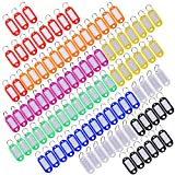 Multi-colores Etiquetas con Llaveros Llavero de Plastico con Etiquetas con Anillo llavero, 100 Piezas