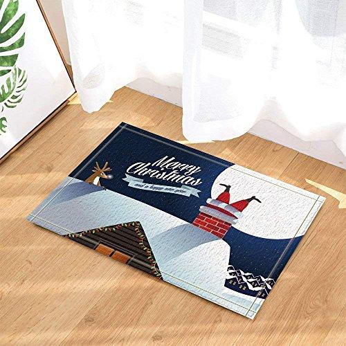 Aliyz Rentier Siehe Weihnachtsmann hängen im Kamin Hause Hotelzimmer Tür Bodenmatte Badezimmer Schlafzimmer Küche Wohnzimmer Kinderteppich rutschfest Material Flanell 40x60cm