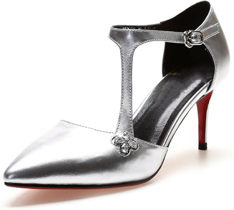 DKFJKI Frauen Leder Heels Spitze Stiletto Strass Hohle Schnalle Mode Sandalen Rote Hochzeit Schuhe Kleider