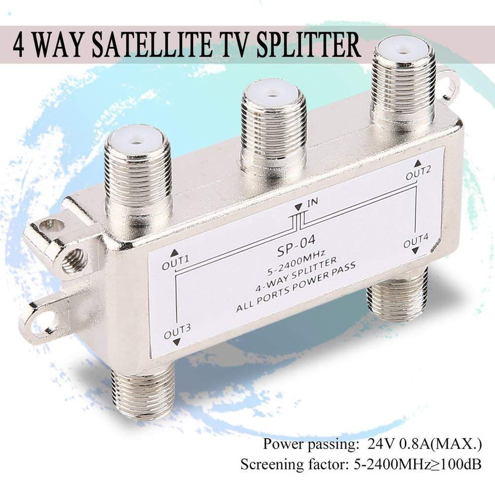 Distribuidor de Divisor de 4 Canales 4 Canales por satélite/Antena/TV por Cable 5-2400MHz Tipo F SP-04 Caja de fundición Inyectada de Zinc: Amazon.es: Electrónica