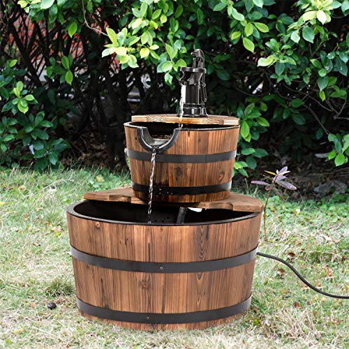 Kintness 2-Tier Wood Barrel Waterfall Fountain with Pump for Outdoor Garden
