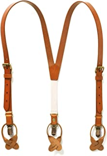 JJ SUSPENDERS Genuine Leather Suspenders For Kids with Elastic Strap - Classic Y Suspenders for Boys & Toddlers (Sierra Nevada - Dark Tan)