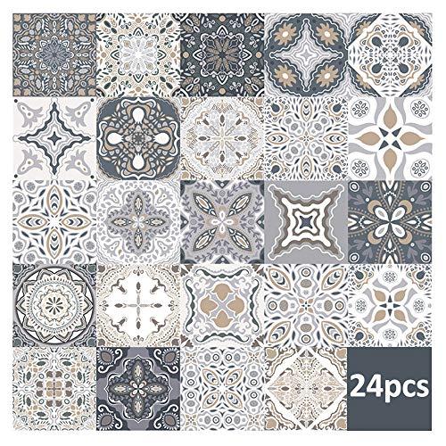 24 piezas pegatinas de azulejos de pared - calcomanías de azulejos para cocina sala de estar baño decoración para el hogar autoadhesivo (10 * 10CM)