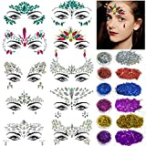 Face Gems Glitter - 10 Sets Face Jewels Bindi Face Body Jewels festival Temporary Stickers with 6 Pack Face Body Glitter