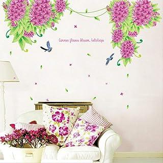 Pegatinas De Pared Lilac Flower Swallow Inglés Frase Corta Pegatina Dormitorio Al Lado De La Cama Romántica Pegatina
