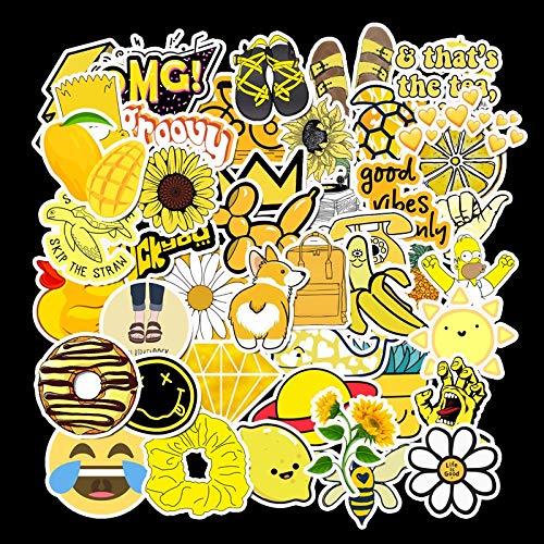 Autoadesivo dell'automobile Giallo Piccolo Carrello di Box di Carrello della Valigia Fresca del Laptop Laptop Graffiti Sticker Serie del Fumetto Autoadesivi Impermeabili 50 Fogli 3-6cm (Color : 1)