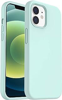 "ORNARTO Silikon Hülle kompatibel mit iPhone 12 Mini Case 5,4"", Verstärkte Stoßfeste Flüssige Silikon Gel Gummi Ganzkörper Schutz Stoßstange Abdeckungs Handyhülle Schutzhülle Minzgrün"