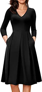 HOMEYEE Women's V-Neck 3/4 Sleeve Flare Casual Dress with Pockets A126