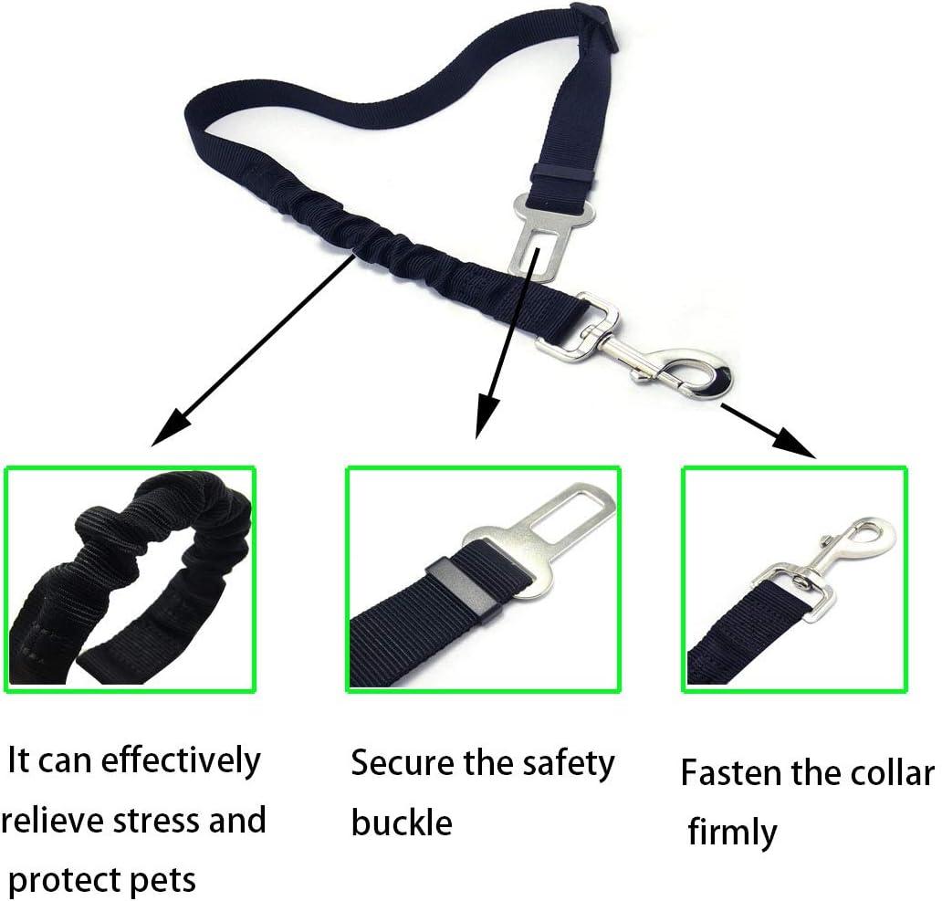 Jmiao Headrest Dog Car Seat Belt,Dog Seat Belt for Car with Elastic Bungee Buffer Adjustable Durable Dog Car Safety Harness Restraint,2 Packs A