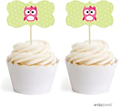 Andaz Press Birthday and Baby Shower Cupcake Toppers DIY Party Favors Kit, Girl Owl, Double-Sided, 18-Pack
