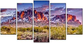 Biuteawal - Superstition Mountains Sunset Arizona Western Wall Art Desert Cactus Landscape Paintings Canvas Art Print Nature Pictures for Home Wall Decoration Ready to Hang