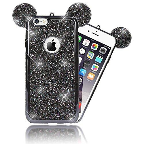 NALIA Purpurina Funda Orejas Compatible con iPhone 6 6S, Carcasa Protectora Movil Silicona Glitter Gel Bumper Estuche, Lentejuela Cubierta...