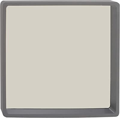 Deco 79 60168 Gray Rounded Square Wooden Wall, Grey/Mirror