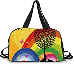 Rainbow Personality Travel Bag,Silhouette of a Tree on Hill with Sun and Two Rainbows Spring Time Flowers Decorative for Travel Airport,One_Size