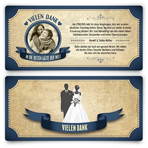 Danksagungskarten (30 Stück) - Vintage Brautpaar in Blau - Retro Dankeskarten
