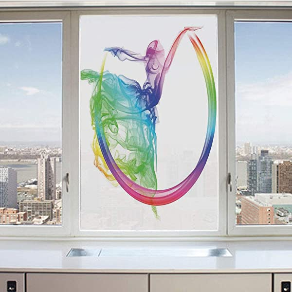 3D Decorative Privacy Window Films Smoke Dance Shape Silhouette Of Dancer Ballerina Rainbow Colors Fantasy Decorative No Glue Self Static Cling Glass Film For Home Bedroom Bathroom Kitchen Office 17 5