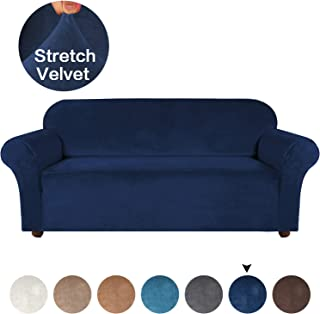 Turquoize Velvet Sofa Cover for 3 Cushion Couch Navy Sofa Slipcover Plush Couch Cover Strapless Sofa Furniture Protector, High Spandex Slipcover/Lounge Cover, Slip Resistant (Navy, Sofa)