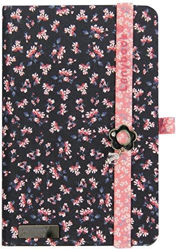 Castelli Lanybook-Taccuino formato A6, motivo floreale romantico portadocumenti, con custodia rigida, 192 pagine, colore: nero/rosa