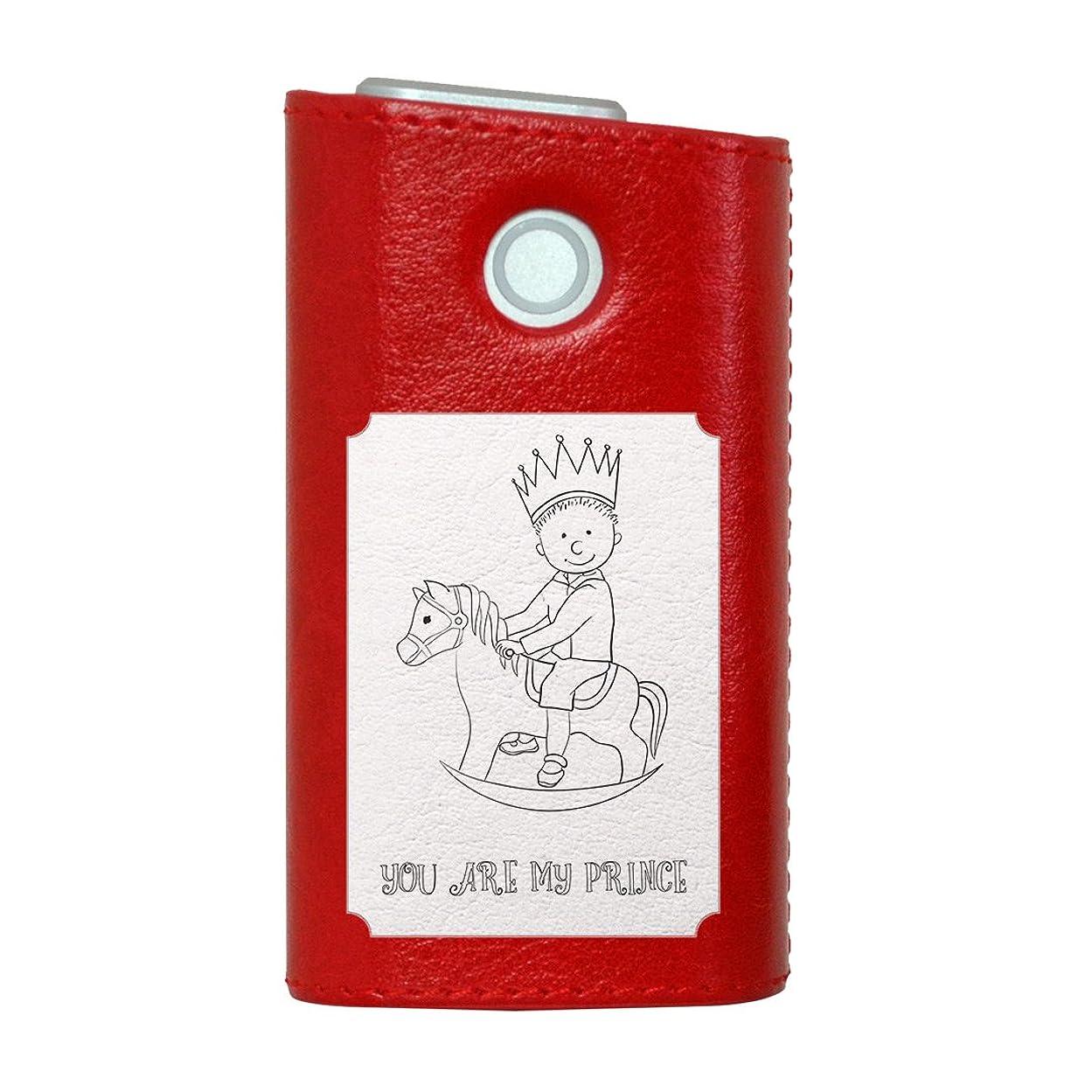 ジョージハンブリー乳剤まともなglo グロー グロウ 専用 レザーケース レザーカバー タバコ ケース カバー 合皮 ハードケース カバー 収納 デザイン 革 皮 RED レッド 王冠 馬 英語 011418