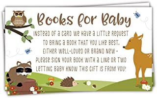 50 Count - Books for Baby Request Cards - Woodland Animals Baby Shower