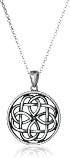 "Oxidized 925 Sterling Silver Celtic Knot Medallion Pendant Necklace With 18"" Rolo Chain"