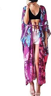 Women's Beach Cover Up Sheer Chiffon Broad Sleeves Kimono Cardigan Colorblock Top Blouse Robe Beach Dress