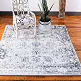 Unique Loom Sofia Collection Traditional Vintage Square Rug, 6', Gray/Ivory