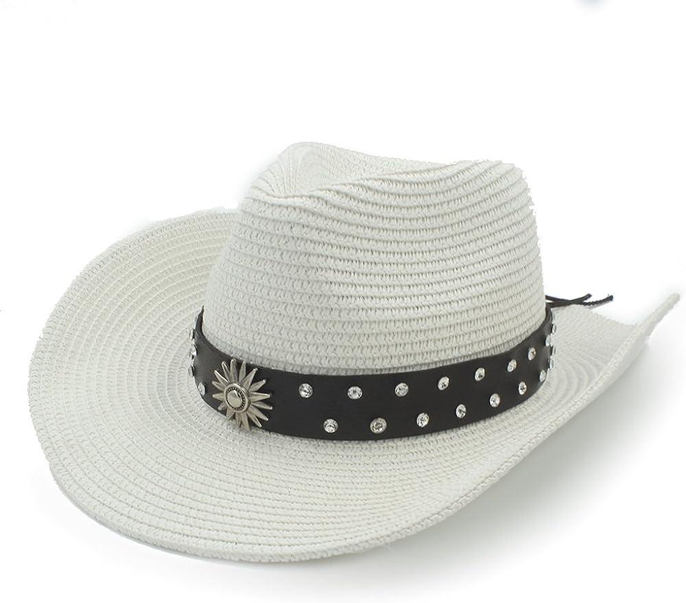YWHY Western Cowboy Summer Sun Hat Women's Men's, Straw Sombrero Caps Fashion Belt