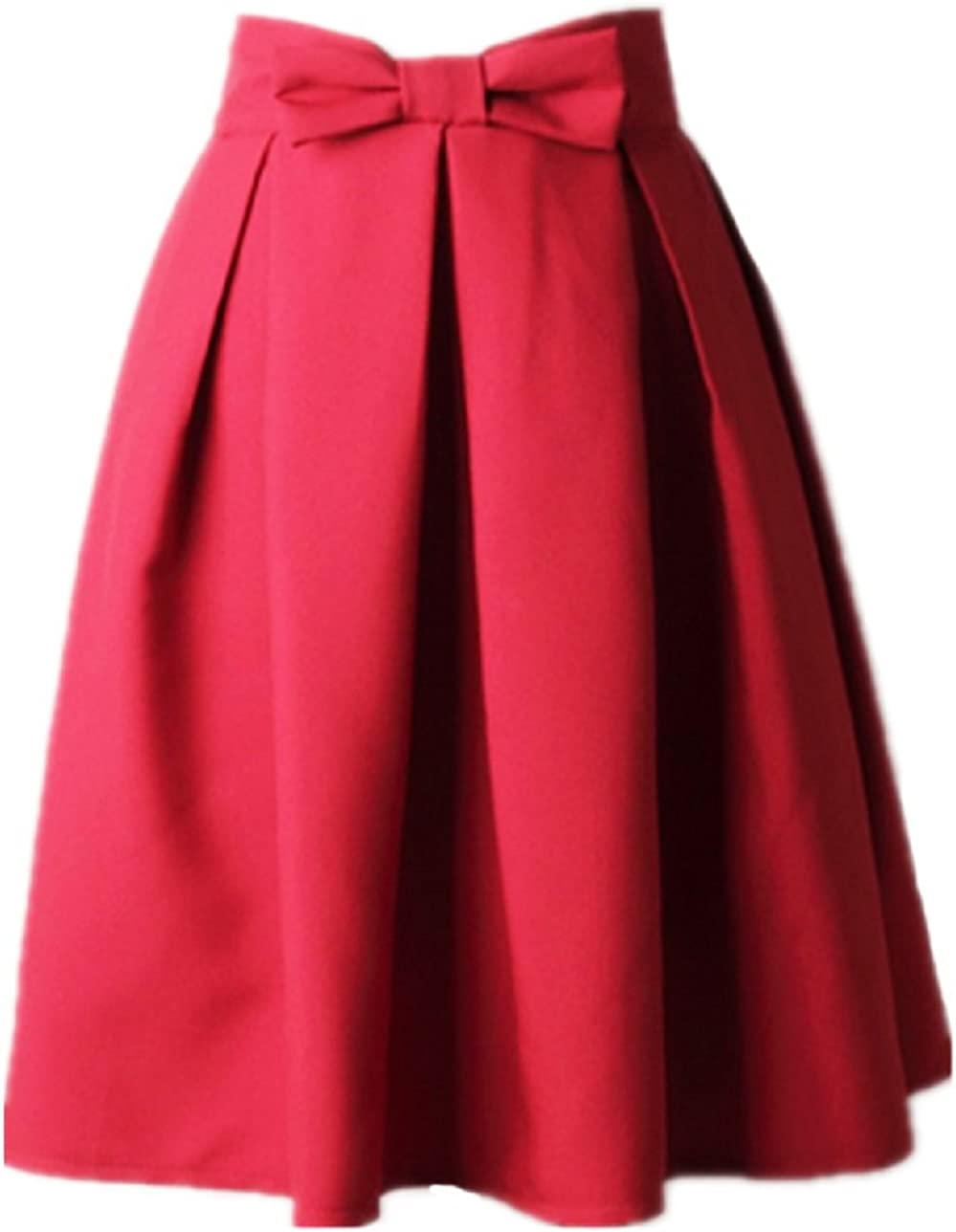 Women/'s A Line Pleated Vintage Skirt High Waist Midi Skater with Bow Tie