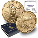 2021 1/10 oz Gold American Eagle Brilliant Uncirculated with United States Mint Box and a Certificate of Authenticity by CoinFolio $5 Mint State